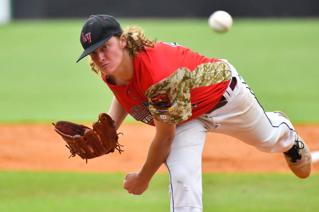 Josh Sharman pitches for Las Vegas Post 40 in game seven of The American Legion World Series at Veterans Field at Keeter Stadium in Shelby, N.C., on Saturday, Aug. 18, 2018. Photo by Lucas Carter/ ...