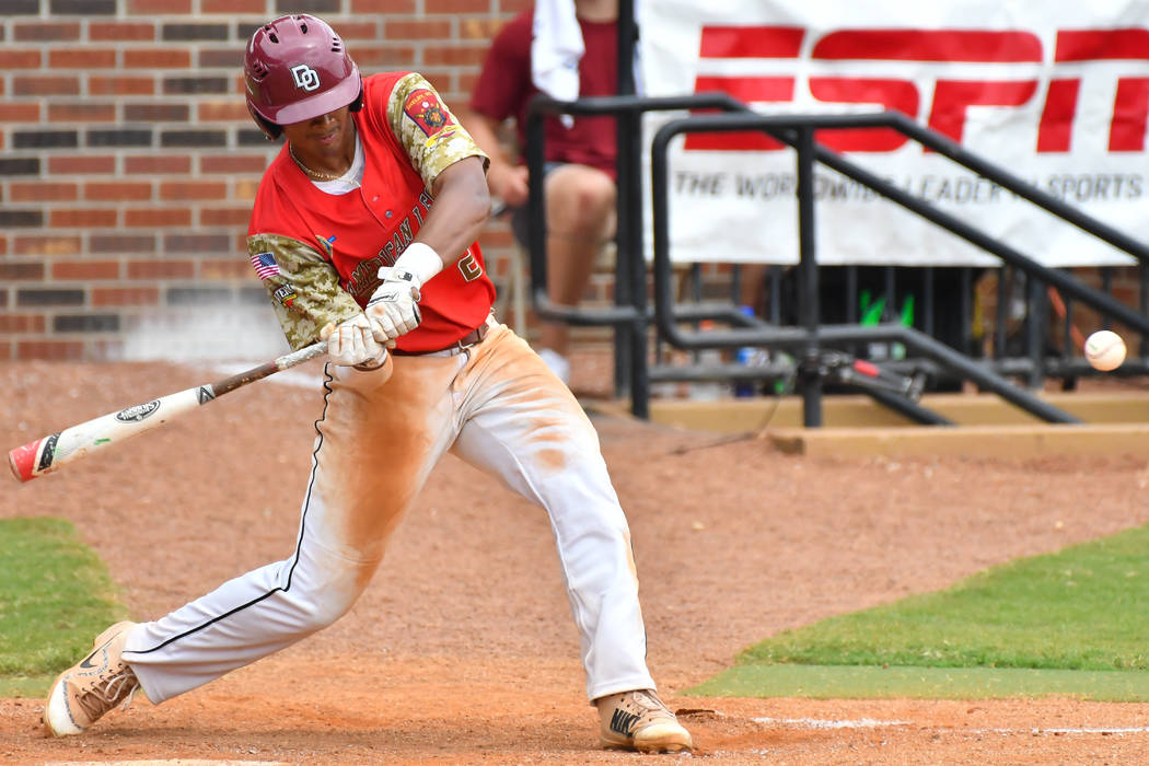 Las Vegas Post 40's Edarian Williams hits in game seven of The American Legion World Series at Veterans Field at Keeter Stadium in Shelby, N.C., on Saturday, Aug. 18, 2018. Photo by Lucas Carter/T ...