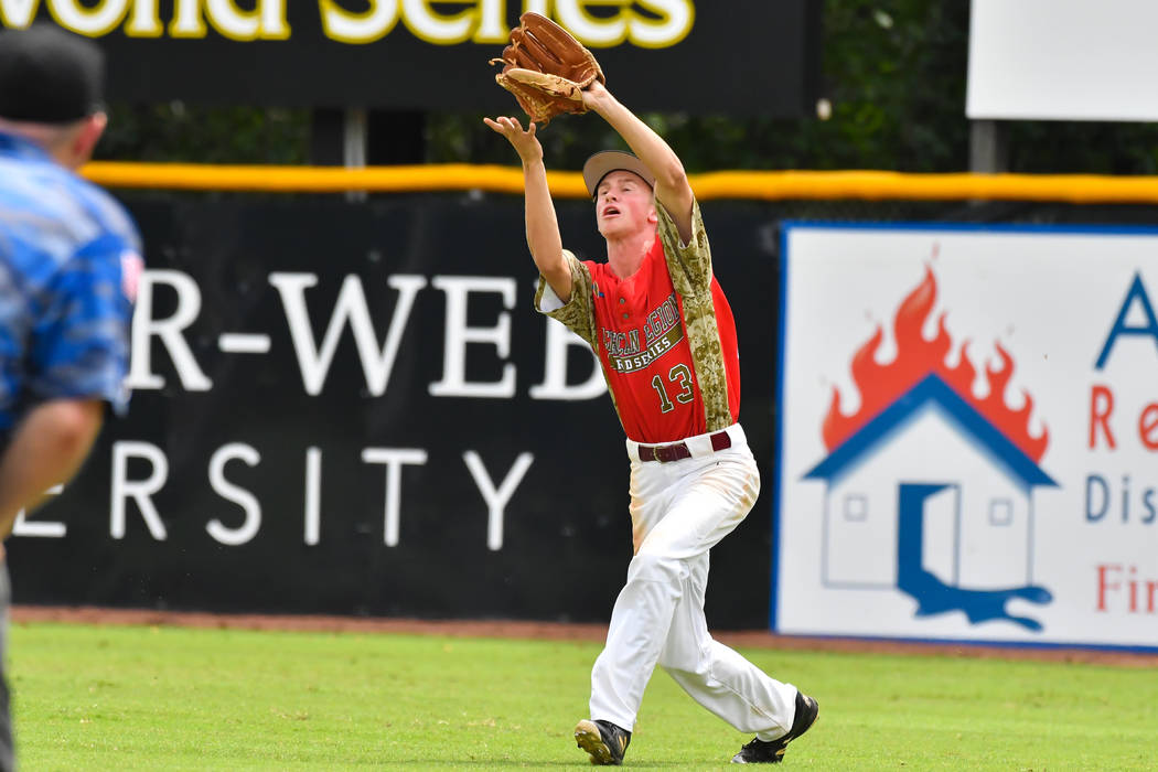 JordanDemarce of Las Vegas Post 40 makes the grab in right field during game seven of The American Legion World Series at Veterans Field at Keeter Stadium in Shelby, N.C., on Saturday, Aug. 18, ...