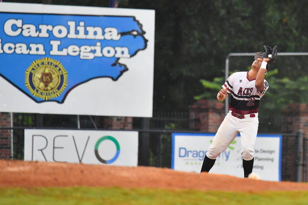 Edarian Williams of Las Vegas, Nev., Post 40 makes the catch to pick up the first out of the first inning at Veterans Field at Keeter Stadium in Shelby, N.C., on Sunday, Aug. 19, 2018 during game ...