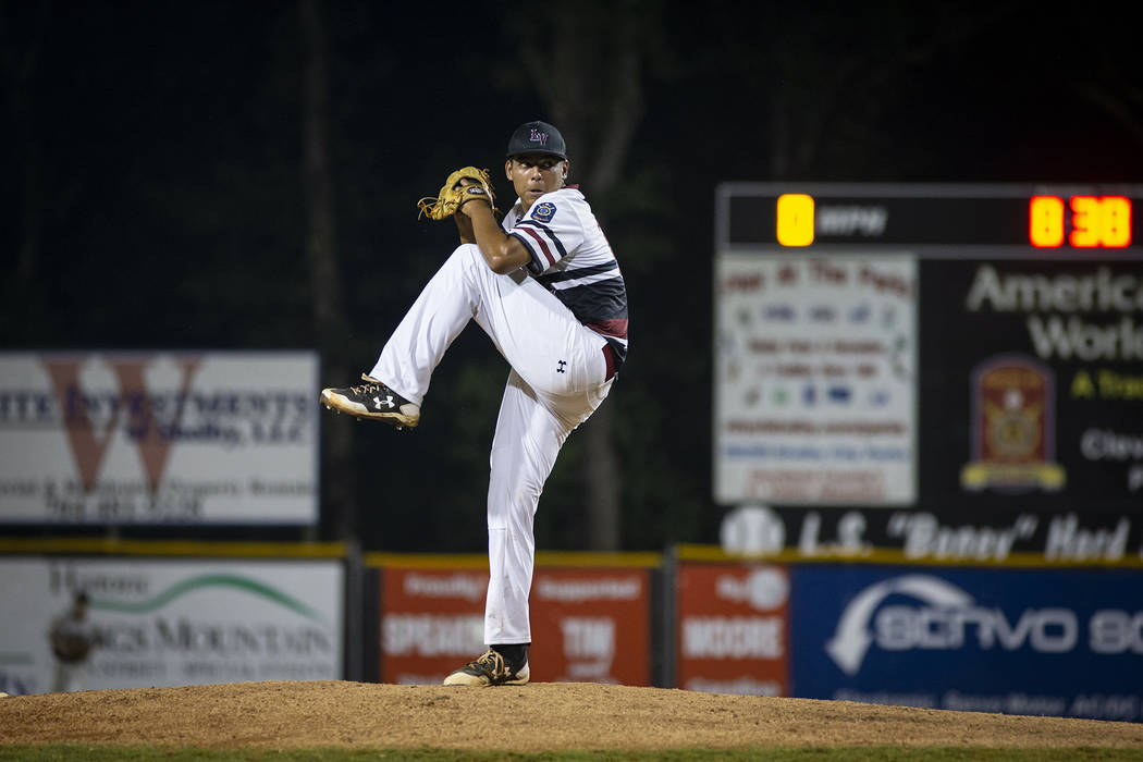 Desert Oasis throws a pitch in game 14 of The American Legion World Series at Veterans Field at Keeter Stadium in Shelby, N.C., on Monday, Aug. 20, 2018. Photo by Chet Strange / The American Legion.