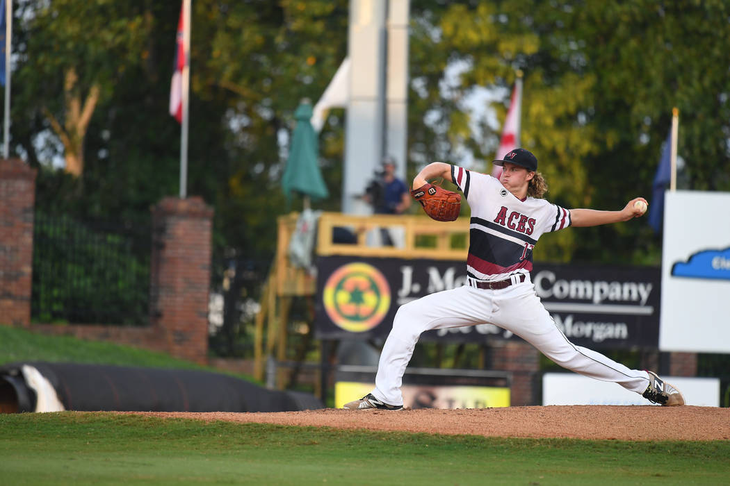 Desert Oasis' Josh Sharman pitches during the American Legion World Series Championship game at Veterans Field at Keeter Stadium in Shelby, N.C., on Tuesday, Aug. 21, 2018 during game 12 of the 20 ...