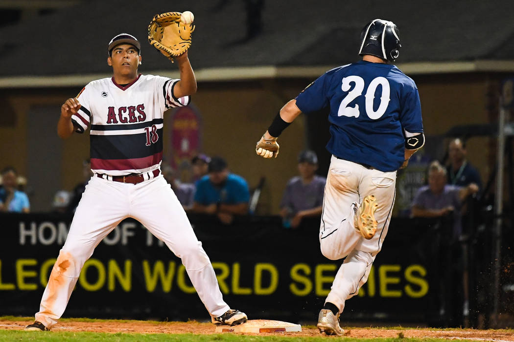 Desert Oasis' Jimmy Gamboa records an out at first during the American Legion World Series Championship game at Veterans Field at Keeter Stadium in Shelby, N.C., on Tuesday, Aug. 21, 2018 during g ...