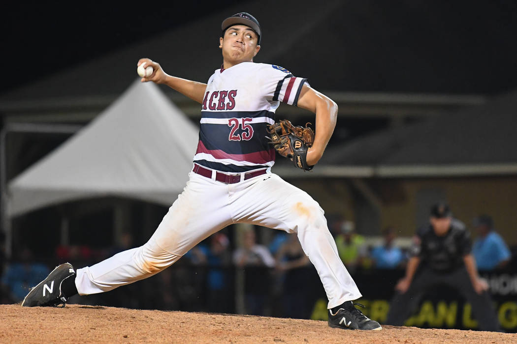 Desert Oasis' Aaron Roberts pitches in the eighth inning of the American Legion World Series championship game at Veterans Field at Keeter Stadium in Shelby, N.C., on Tuesday, Aug. 21, 2018 during ...