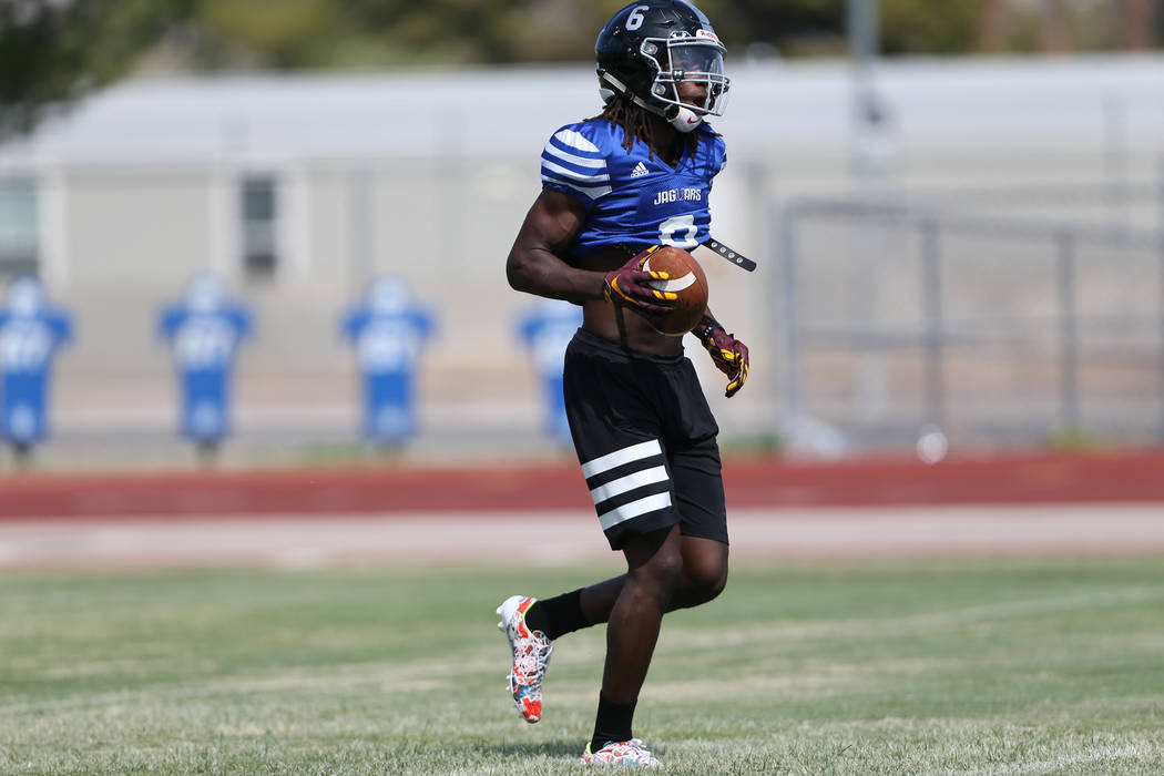 Desert Pines senior running back Cameron Wiley during a team practice at Desert Pines High School in Las Vegas, Tuesday, Aug. 28, 2018. Erik Verduzco Las Vegas Review-Journal @Erik_Verduzco