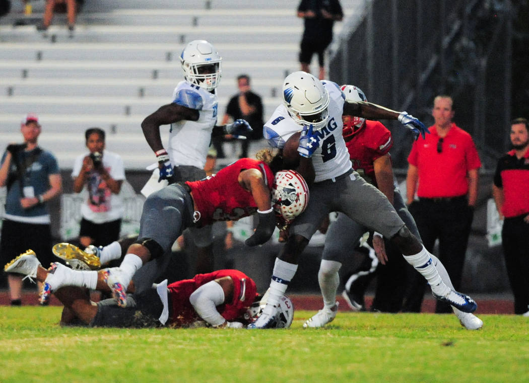 IMG Academy running back Trey Sanders (6) Scores a touchdown at Liberty High School in Henderson on Friday, Sept. 7, 2018. IMG Academy leads at halftime 21-0. Brett Le Blanc Las Vegas Review-Journal