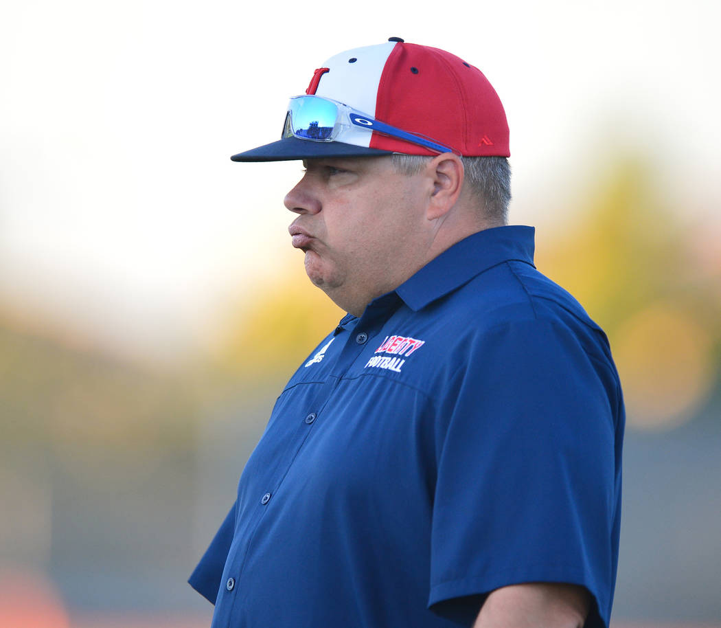 Liberty head coach Rich Muraco watches his team warm up before a game against IMG Academy at Liberty High School in Henderson on Friday, Sept. 7, 2018. IMG Academy won 35-0. Brett Le Blanc Las Veg ...