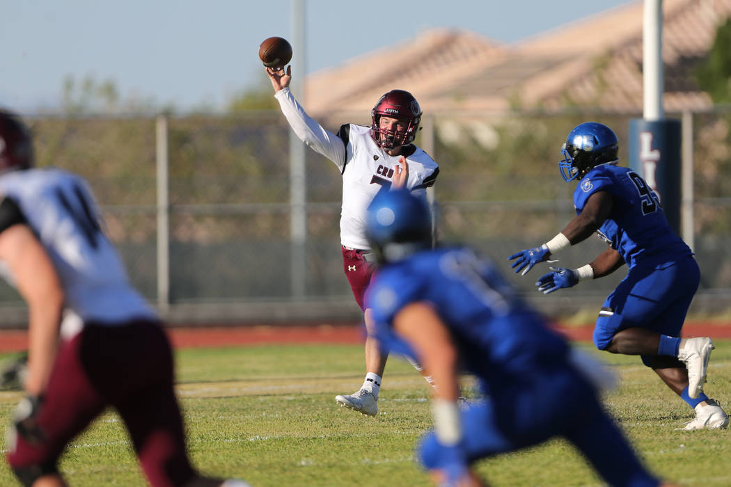 Faith Lutheran's Sagan Gronauer throws a pass against Chandler during the first quarter of a football game at Liberty High School in Henderson, Saturday, Sept. 8, 2018. Erik Verduzco Las Vegas Rev ...