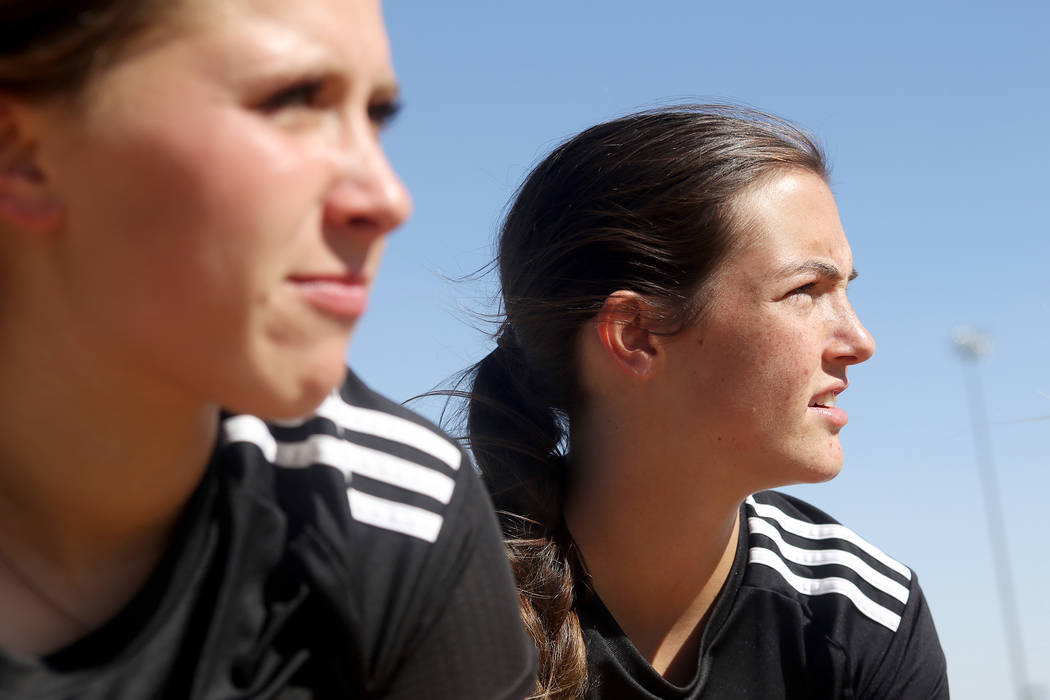 Palo Verde High School's Holly Lindholm (6), watches her teammates play a game at Centennial High School in Las Vegas, Wednesday, Sept. 12, 2018. Lindholm was best friends with Brooke Hawley, a so ...