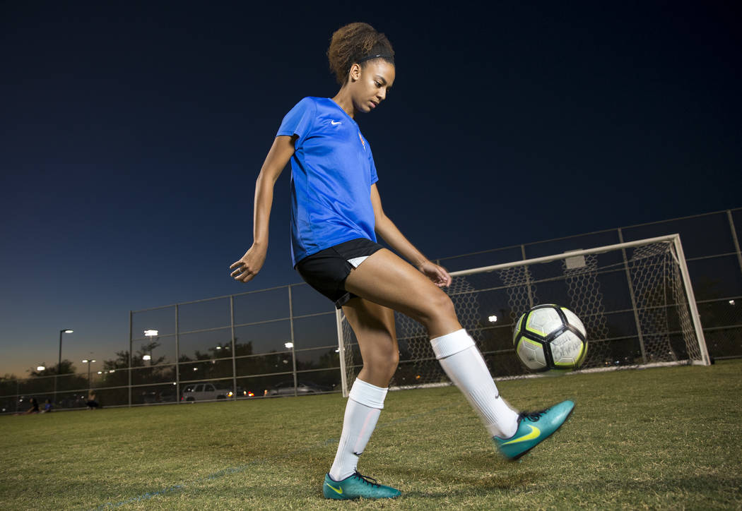 Local soccer player Zia Makhathini, 17, who attends Coral Academy and plays club soccer for Heat FC, poses at Heritage Park in Henderson on Wednesday, Sept. 12, 2018. Richard Brian Las Vegas Revie ...