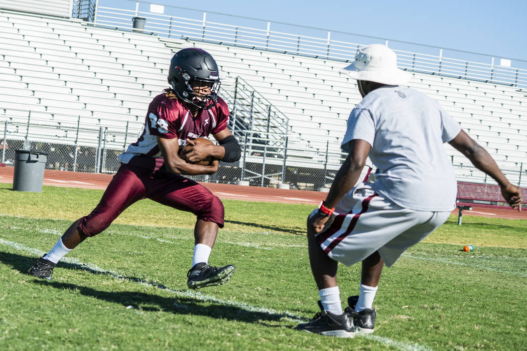 Running back Jordan Norwood, junior, practices at Cimarron-Memorial High School in Las Vegas, Tuesday, Sept. 11, 2018. (Marcus Villagran/Las Vegas Review-Journal) @marcusvillagran