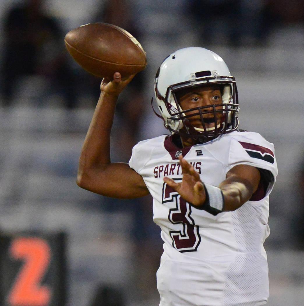 Cimarron-Memorial quarterback Branden Smith (3) throws a pass at Shadow Ridge High School in Las Vegas on Friday, Sept. 14, 2018. Brett Le Blanc/Las Vegas Review-Journal