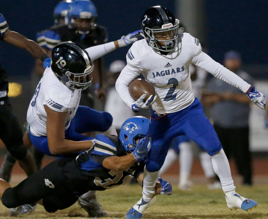 Desert Pines' Tye Moore (2) carries a ball during the first half of a football game at Sierra Vista High School in Las Vegas, Friday, Sept. 14, 2018. Chitose Suzuki Las Vegas Review-Journal @chit ...