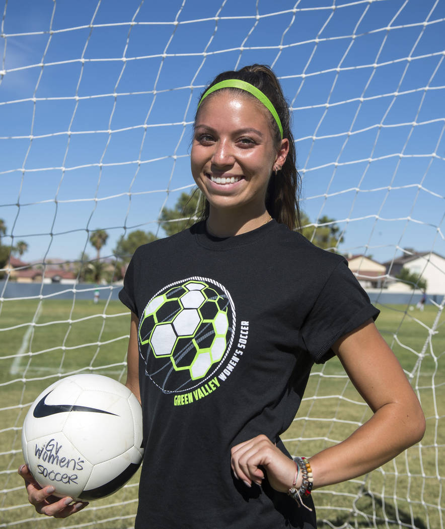 Green Valley's Taylor O'Neill, 17, poses for a photograph during team practice at Green Valley High School in Henderson, Tuesday, Sept. 18, 2018. Caroline Brehman/Las Vegas Review-Journal