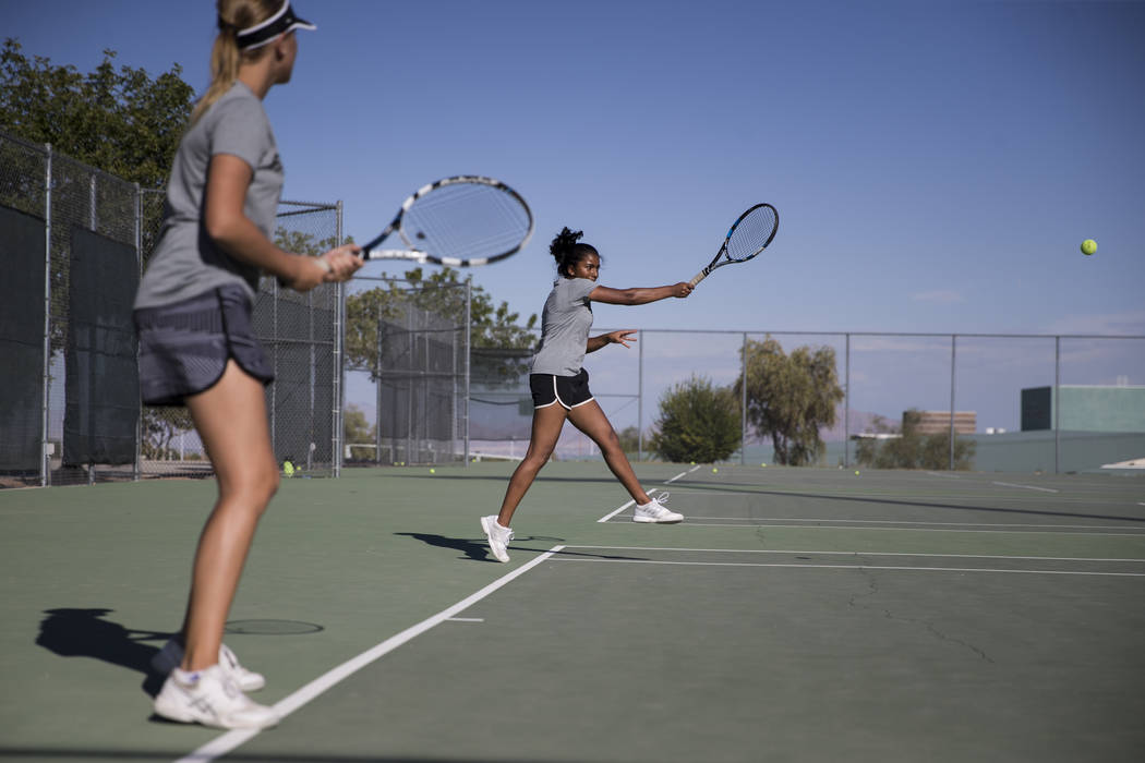 Priya Raju, 14, during a team tennis practice at Palo Verde High School in Las Vegas, Wednesday, Sept. 27, 2017. Erik Verduzco Las Vegas Review-Journal @Erik_Verduzco