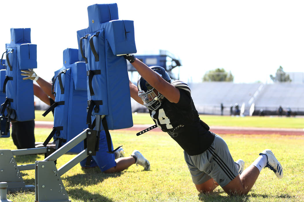 Desert Pines' junior Gabriel Lopez, 17, during a team football practice at Desert Pines in High School in Las Vegas, Wednesday, Sept. 19, 2018. Erik Verduzco Las Vegas Review-Journal @Erik_Verduzco