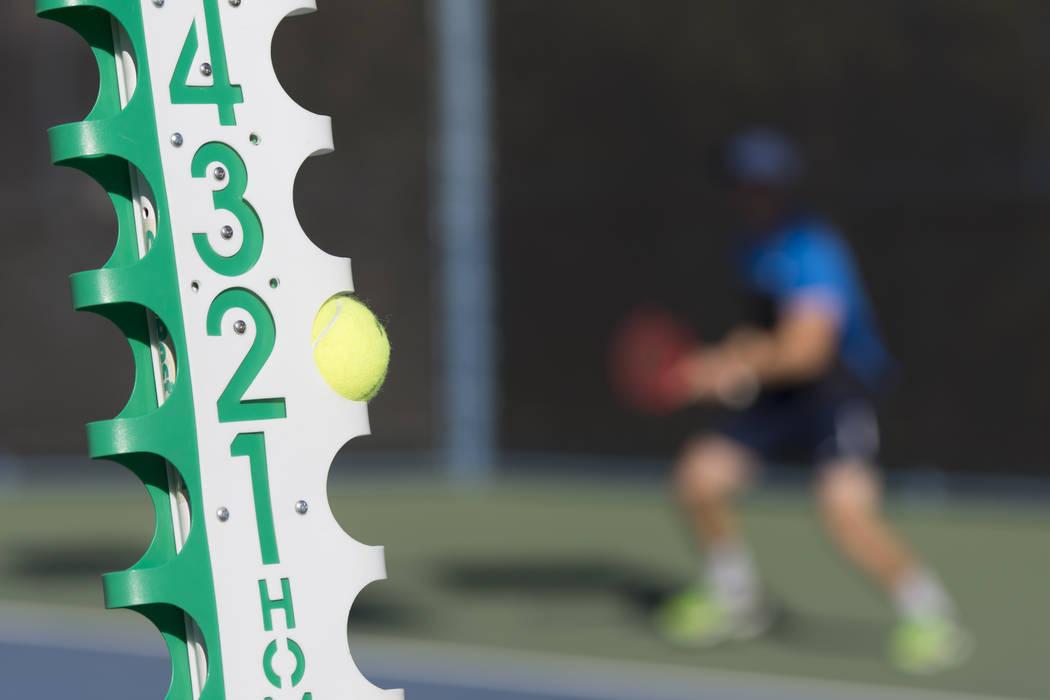 A score post is seen at Darling Tennis Center in Las Vegas, Saturday, Oct. 15, 2016. Jason Ogulnik/Las Vegas Review-Journal