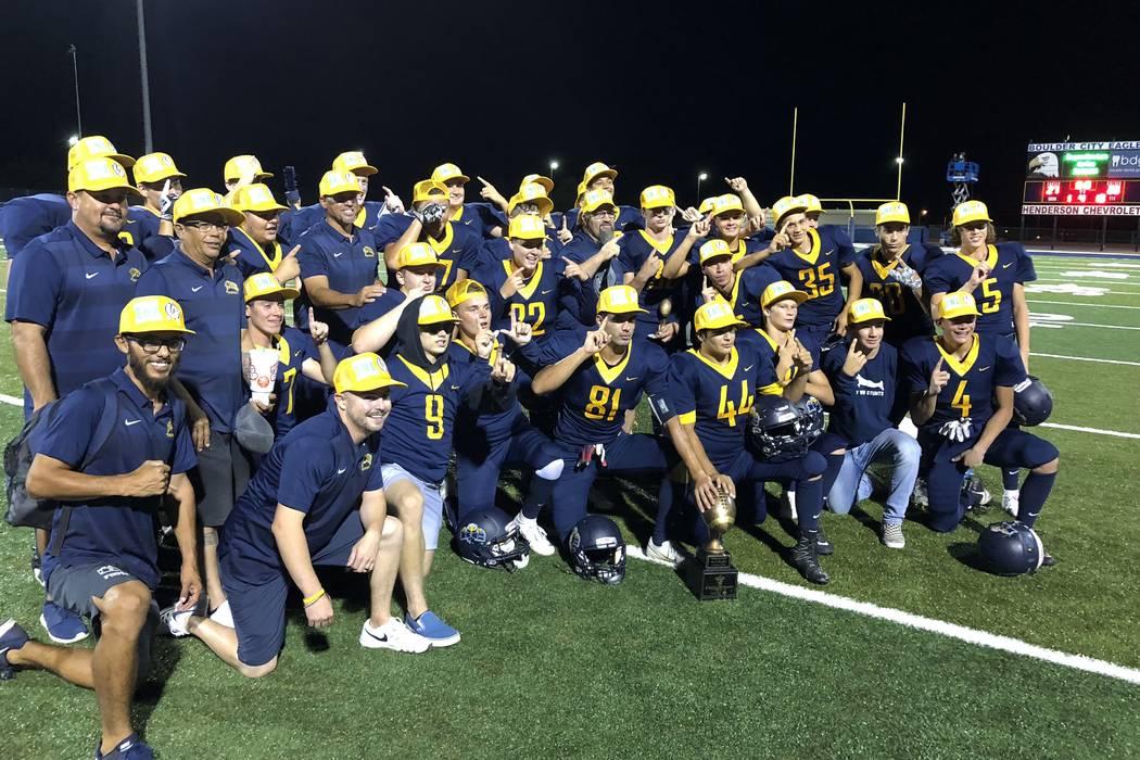 Boulder City football players celebrate their 27-20 home victory over Virgin Valley on Thursday, Sept. 20. Sam Gordon/Las Vegas Review-Journal.