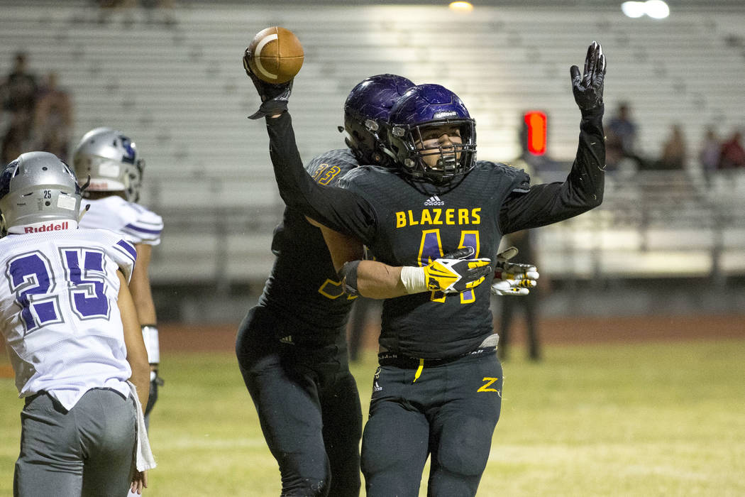 Durango's Frankie Pelton (41), foreground, celebrates his touchdown with Jayden Nersinger (33) during the second half of a varsity football game against Silverado at Durango High School in Las Veg ...