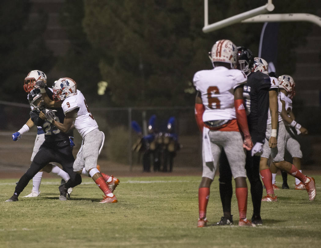 A fight breaks out in the third quarter during the Liberty Patriots road game with the Desert Pines Jaguars on Friday, Sept. 21, 2018, at Desert Pines High School, in Las Vegas. Benjamin Hager Las ...
