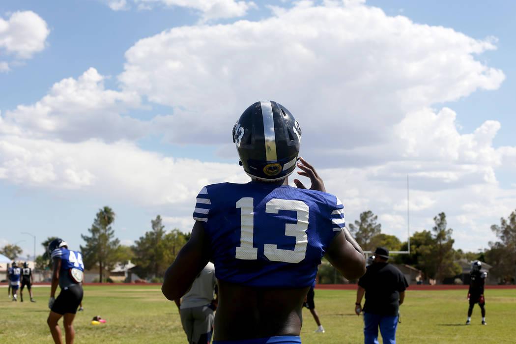 Darnell Washington (13) during practice at Desert Pines High School in Las Vegas, Wednesday, Sept. 5, 2018. Rachel Aston Las Vegas Review-Journal @rookie__rae