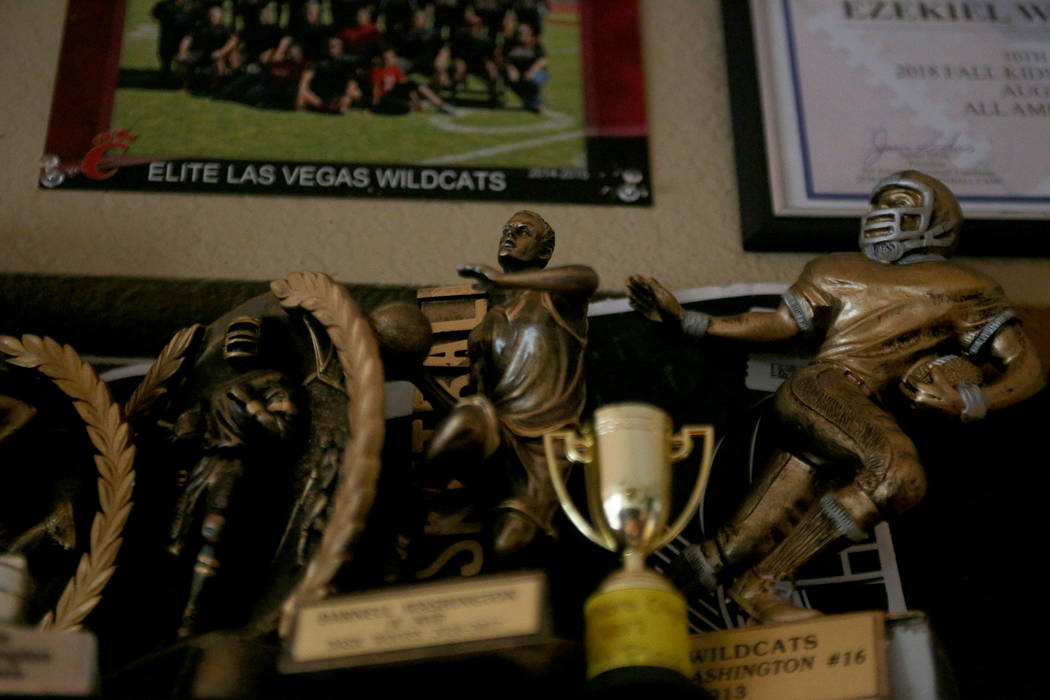Trophies line the walls of the home of Darnell Washington and his family in Las Vegas, Wednesday, Sept. 5, 2018. Rachel Aston Las Vegas Review-Journal @rookie__rae
