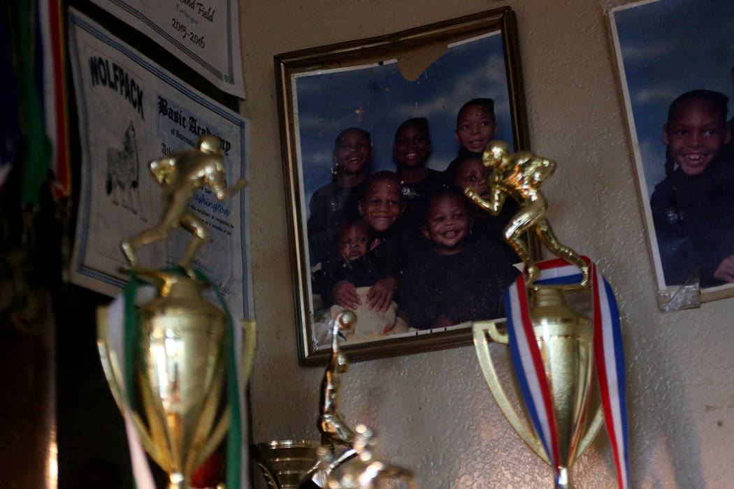 A family photo of Darnell Washington and his siblings at their home in Las Vegas, Wednesday, Sept. 5, 2018. Rachel Aston Las Vegas Review-Journal @rookie__rae