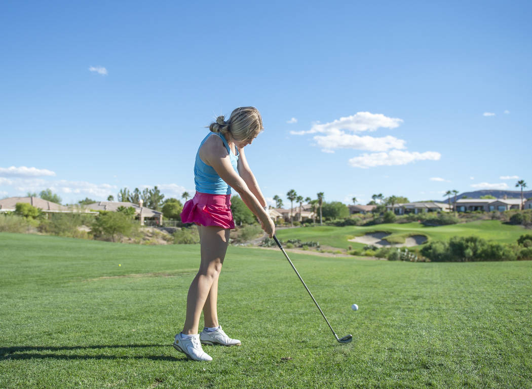 Faith Lutheran High School golfer Morgan Goldstein hits a shot during practice at the Siena Golf Club in Las Vegas, Thursday, Oct. 4, 2018. Caroline Brehman/Las Vegas Review-Journal