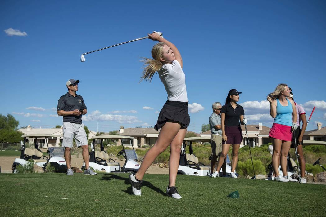 Faith Lutheran High School golfer Grace Olkowski hits a shot during practice at the Siena Golf Club in Las Vegas, Thursday, Oct. 4, 2018. Caroline Brehman/Las Vegas Review-Journal