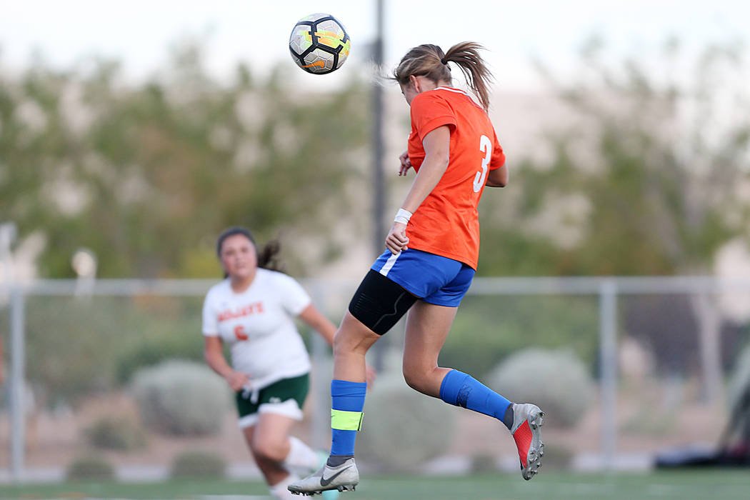 Bishop Gorman's Ashtyn Fink (3) connects with ball for a score against Mojave in the girls soccer game at Bishop Gorman High School in Las Vegas, Friday, Sept. 28, 2018. Erik Verduzco Las Vegas Re ...