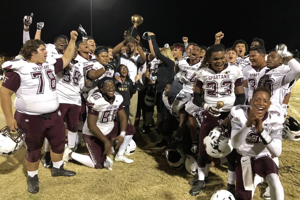 Cimarron-Memorial football players celebrate a 21-17 victory over Bonanza at Bonanza High School on Thursday, Oct. 11. Sam Gordon/Las Vegas Review-Journal.