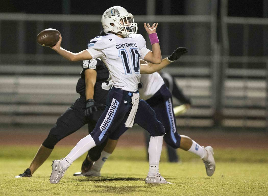 Centennial quarterback Colton Tenney (10) throws a pass against Palo Verde during the first half of a varsity football game at Palo Verde High School in Las Vegas on Friday, Oct. 12, 2018. Richard ...