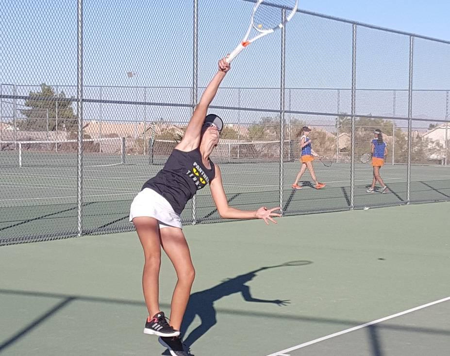 Palo Verde sophomore Lindsay Juhasz serves during her singles set against Bishop Gorman senior Julia Johnson during the teams' state quarterfinal Monday at Spring Valley. (W.G. Ramirez/Las Vegas ...