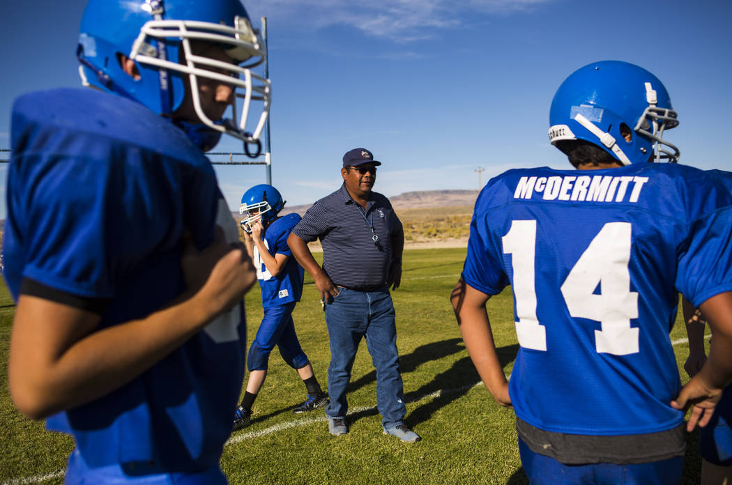 Football coach Richard Egan leads practice at McDermitt High School in McDermitt on Tuesday, Sept. 25, 2018. Chase Stevens Las Vegas Review-Journal @csstevensphoto