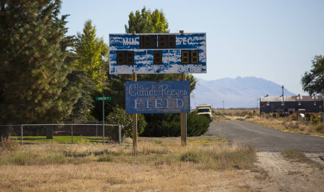 The scoreboard at the old football field at McDermitt High School in McDermitt on Tuesday, Sept. 25, 2018. Chase Stevens Las Vegas Review-Journal @csstevensphoto