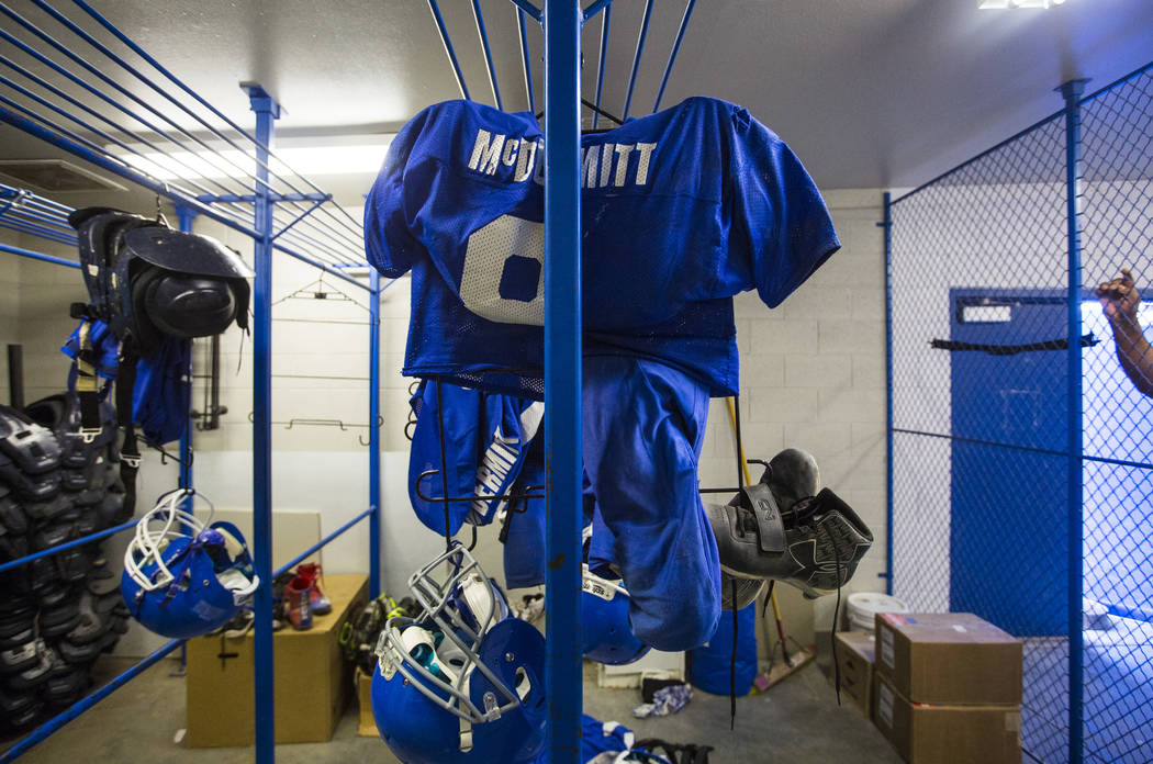 Football equipment at McDermitt High School in McDermitt on Tuesday, Sept. 25, 2018. Chase Stevens Las Vegas Review-Journal @csstevensphoto