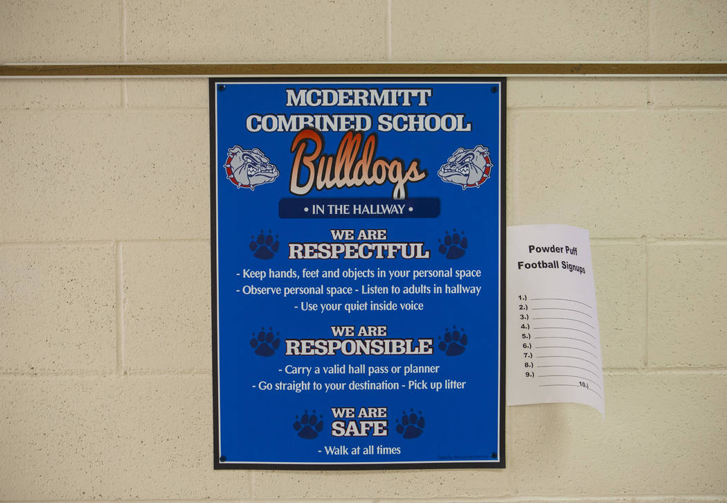 A poster at McDermitt High School in McDermitt on Tuesday, Sept. 25, 2018. Chase Stevens Las Vegas Review-Journal @csstevensphoto