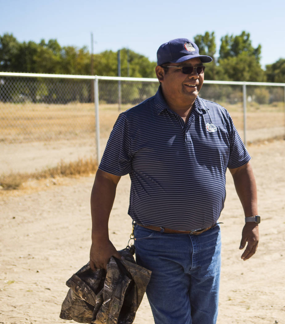 McDermitt football coach Richard Egan walks on the school's old field before practice at the high school in McDermitt on Tuesday, Sept. 25, 2018. Chase Stevens Las Vegas Review-Journal @csstevensphoto