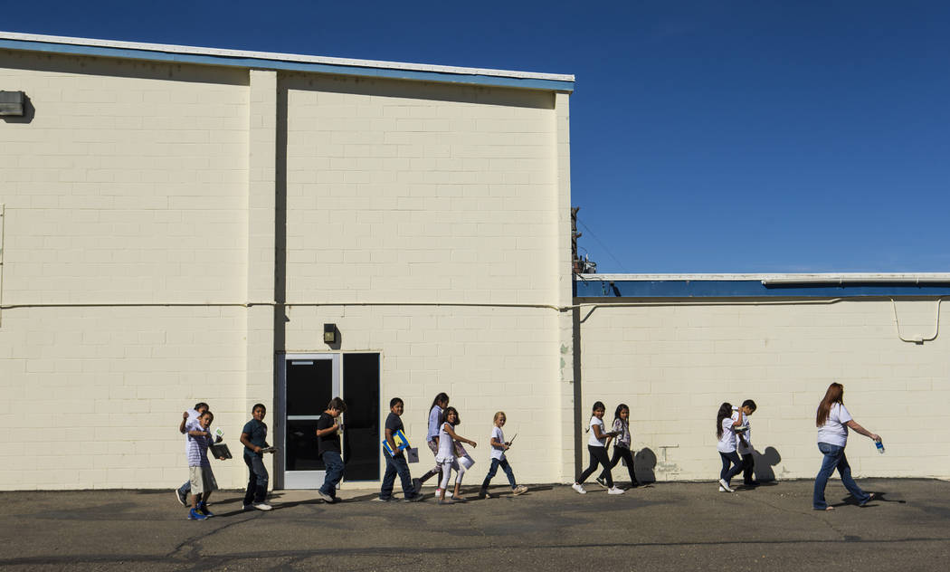Elementary school children at McDermitt Combined School in McDermitt on Tuesday, Sept. 25, 2018. Chase Stevens Las Vegas Review-Journal @csstevensphoto