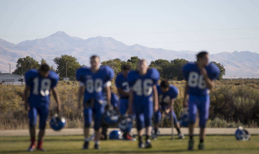 Football players during practice at McDermitt High School in McDermitt on Tuesday, Sept. 25, 2018. Chase Stevens Las Vegas Review-Journal @csstevensphoto