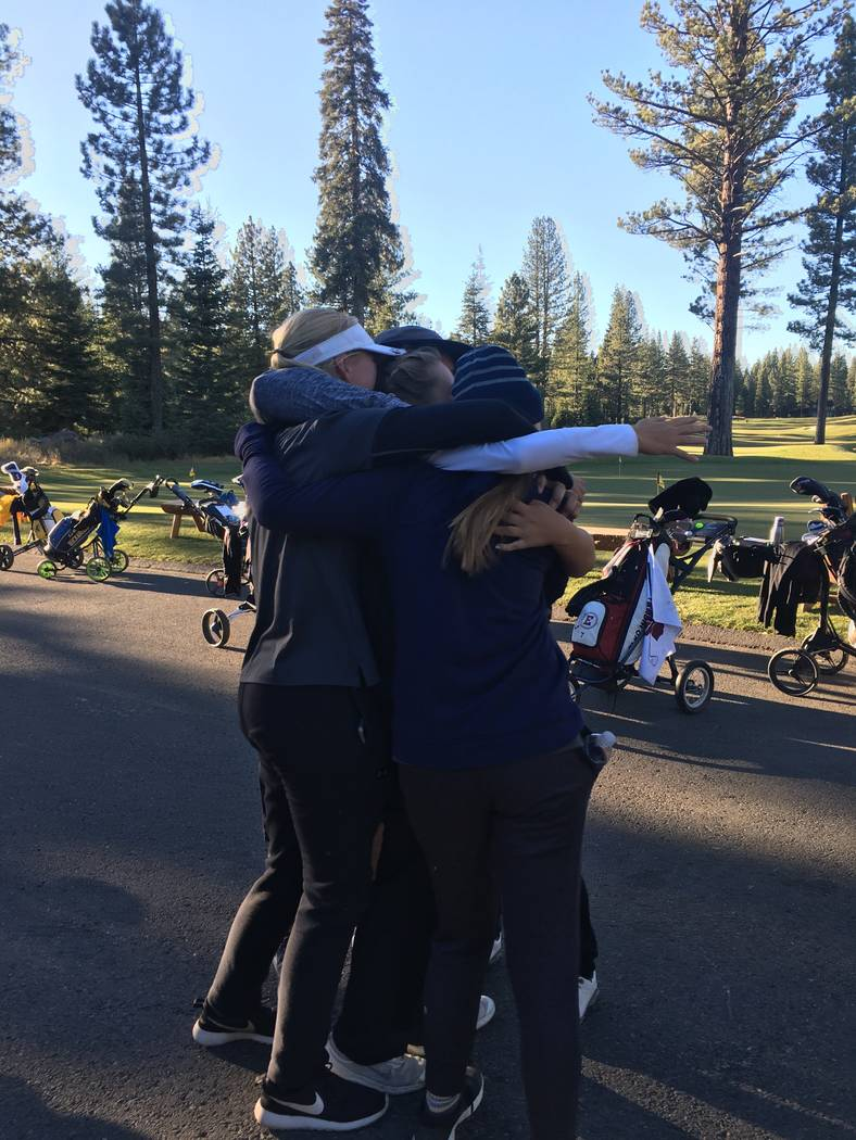 Boulder City girls golfers celebrate winning the Class 3A state championship at Schaffer's Mill on Oct. 16, 2018 in Truckee, Calif. Courtesy: Boulder City golf