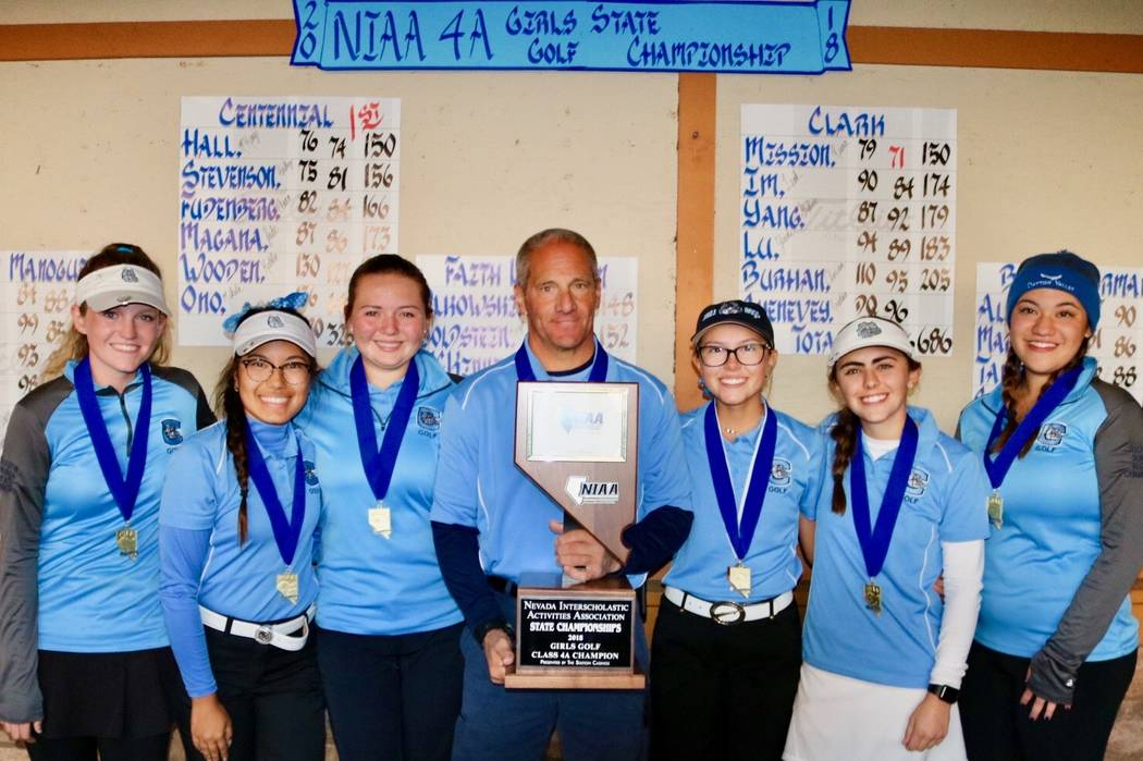 The Centennial girls golf team celebrates its Class 4A state golf championship at Dayton Valley Golf Course on Oct. 16, 2018 in Dayton, Nev. Courtesy: Centennial golf.