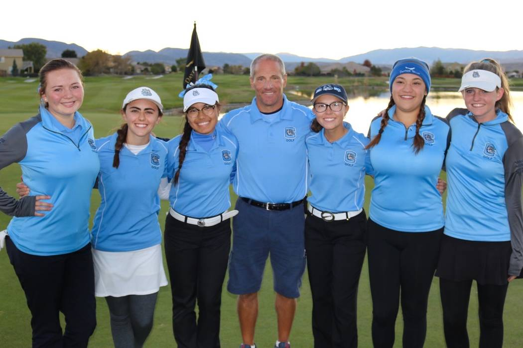 Centennial's golf team poses after winning the Class 4A state golf championship at Dayton Valley Golf Course on Oct. 16, 2018 in Dayton, Nev. Courtesy: Centennial golf.