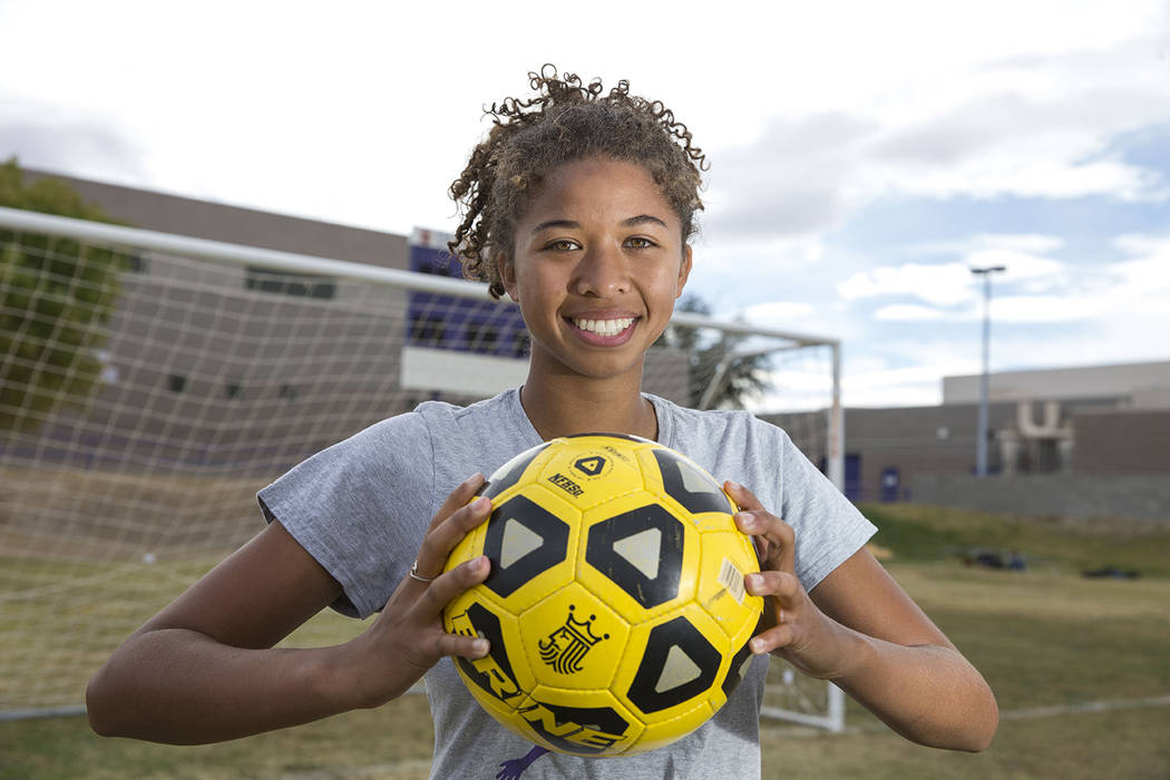 Durango senior soccer player Laila Loring poses before practice at Durango High School in Las Vegas on Tuesday, Oct. 16, 2018. Richard Brian Las Vegas Review-Journal @vegasphotograph