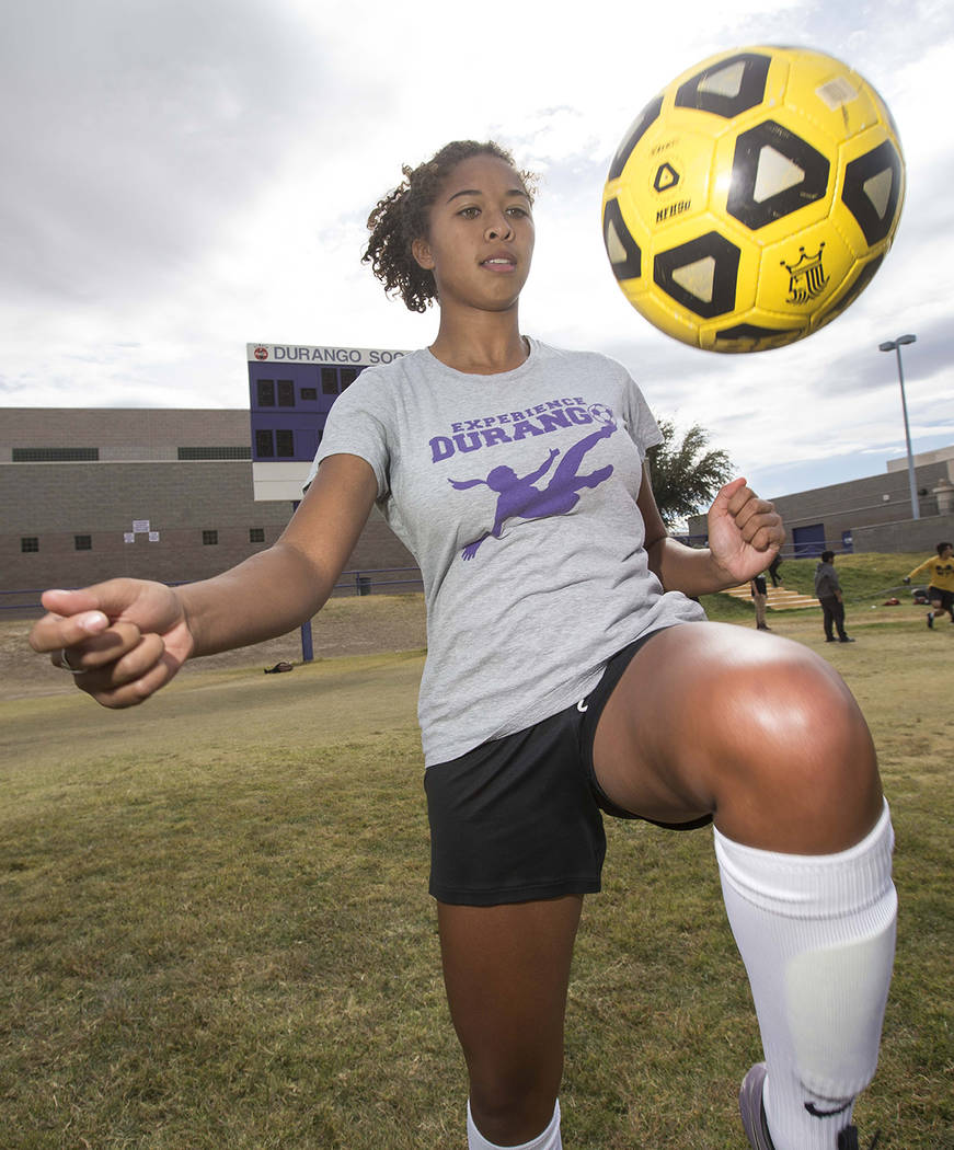 Durango senior soccer player Laila Loring dribbles the ball before practice at Durango High School in Las Vegas on Tuesday, Oct. 16, 2018. Richard Brian Las Vegas Review-Journal @vegasphotograph