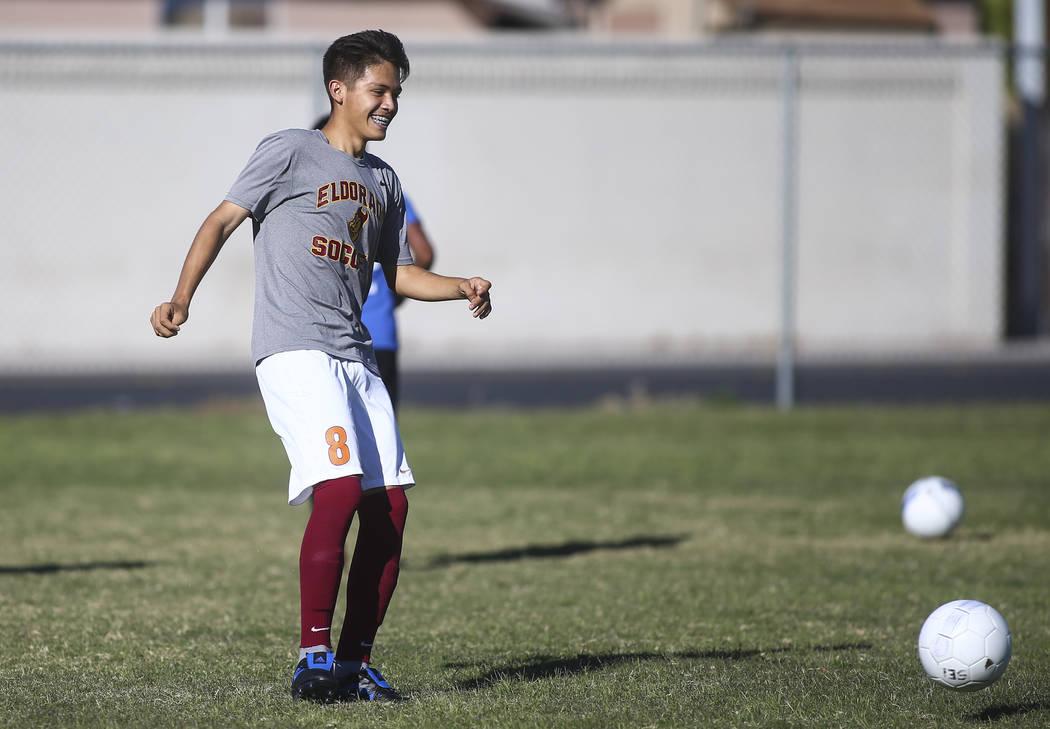 Eldorado's Roberto Gonzalez kicks the ball during soccer practice at Eldorado High School in Las Vegas on Tuesday, Oct. 9, 2018. Chase Stevens Las Vegas Review-Journal @csstevensphoto
