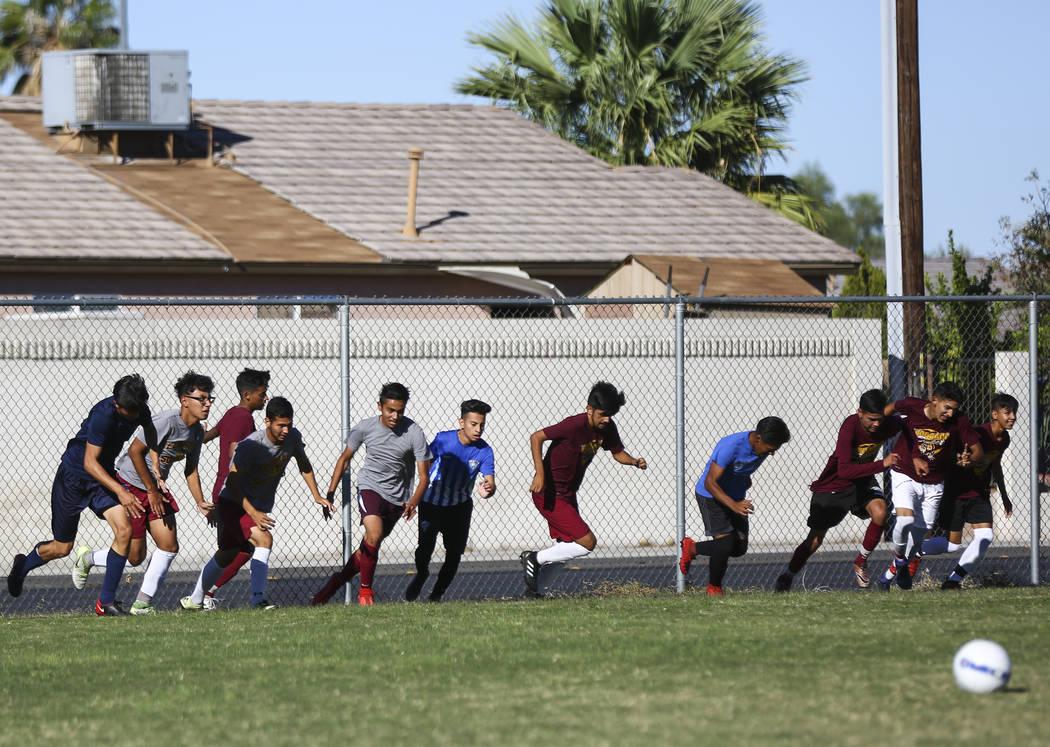 The Eldorado High School soccer team sprints during practice at their high school in Las Vegas on Tuesday, Oct. 9, 2018. Chase Stevens Las Vegas Review-Journal @csstevensphoto