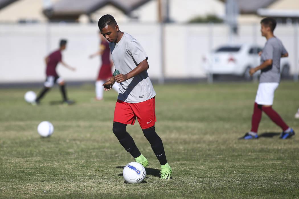 Eldorado's Francisco Ulloa-Tapia moves the ball during soccer practice at Eldorado High School in Las Vegas on Tuesday, Oct. 9, 2018. Chase Stevens Las Vegas Review-Journal @csstevensphoto
