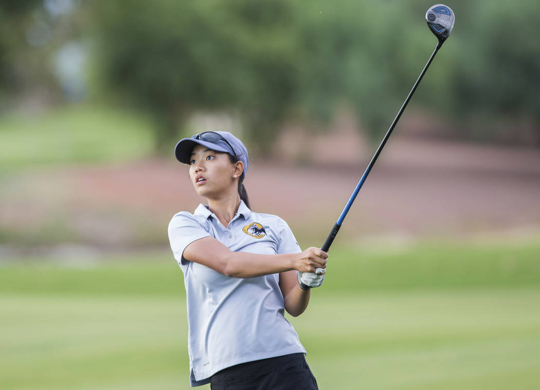 Clark sophomore Riana Mission drives the ball at Stallion Mountain Golf Club on Wednesday, Oct. 10, 2018, in Las Vegas. Benjamin Hager Las Vegas Review-Journal @benjaminhphoto