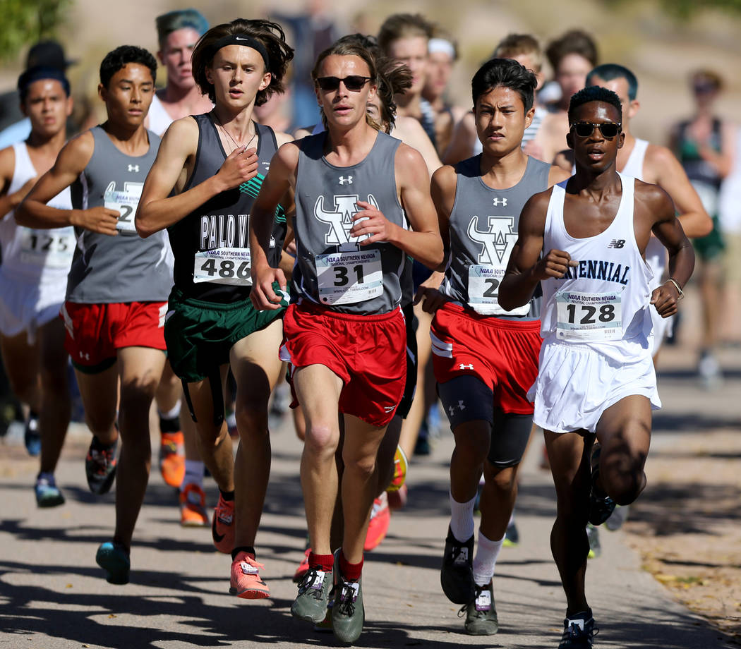Runners during the 4A Mountain boys cross country region race at Veteran's Memorial Park in Boulder City Friday, Oct. 26, 2018. K.M. Cannon Las Vegas Review-Journal @KMCannonPhoto